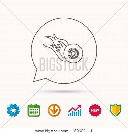 Burning wheel icon. Speed or Race sign. Calendar, Graph chart and Cogwheel signs. Download and Shield web icons. Vector