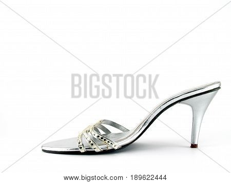 silver high heel shoe adorned with crystals isolated on white background, women's shoes simple and luxury style