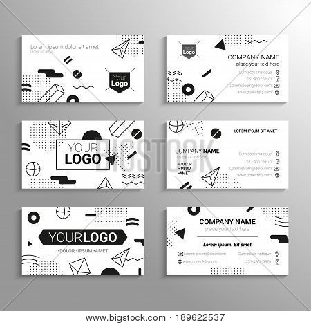 Business cards - vector template with black and white abstract flat design background. Represent yourself, company, services, contact information. Modern outlook with different shapes. Copy space for your logo.