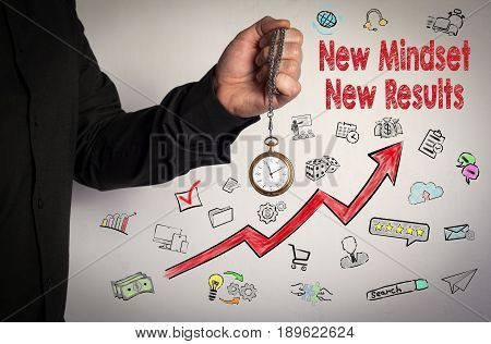 New Mindset New Results concept. Red Arrow and Icons Around. Man holding chain clock on white background.