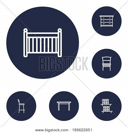 Set Of 6 Decor Outline Icons Set.Collection Of Chair, Crib, Bar Stool And Other Elements.