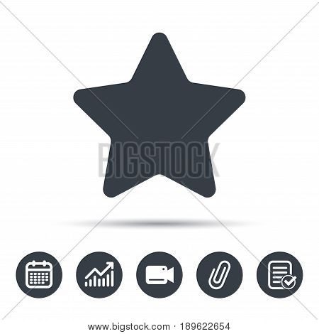 Star icon. Favorite or best sign. Web ranking symbol. Calendar, chart and checklist signs. Video camera and attach clip web icons. Vector