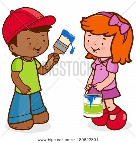 Boy painting with a paint brush and girl holding a paint bucket. Vector illustration