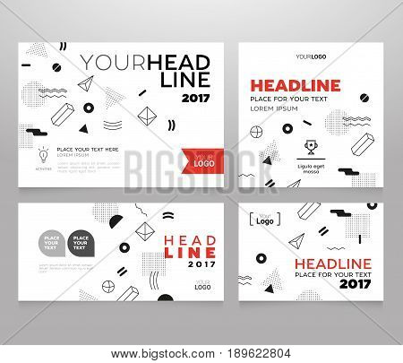 Headline Banner - vector template illustration poster with abstract background. Make your idea look good, promote it. Headline and topic. Modern outlook with different shapes. Copy space for your logo.
