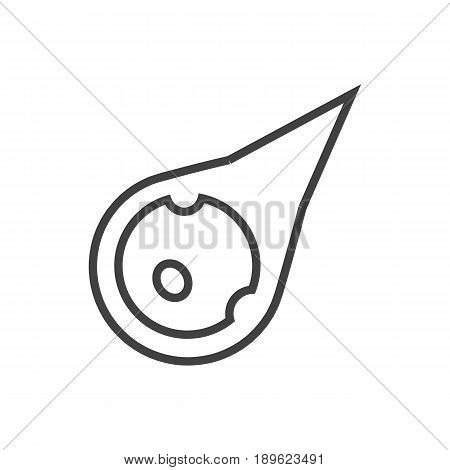 Isolted Comet Outline Symbol On Clean Background. Vector Asteroid Element In Trendy Style.