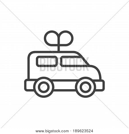 Isolted Bus Outline Symbol On Clean Background. Vector Clockwork Car Element In Trendy Style.