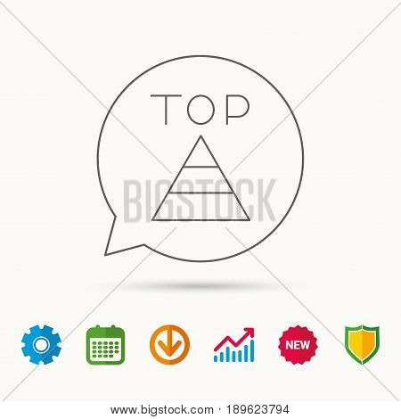 Triangle icon. Top or best result sign. Success symbol. Calendar, Graph chart and Cogwheel signs. Download and Shield web icons. Vector