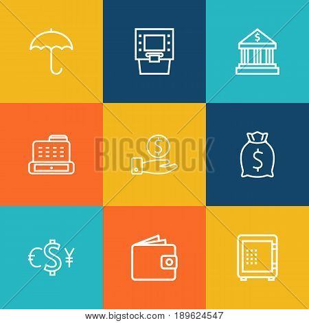 Set Of 9 Finance Outline Icons Set.Collection Of Protect, Bank, Atm And Other Elements.