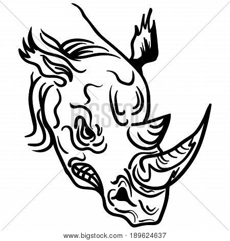 The stylized image of a rhino head. Vector stylized face of ink sketch rhino. Rhino tribal tattoo Vector illustration.