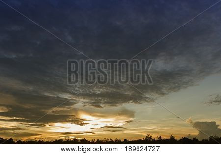 Evening sunset and sunrise sky background,severe weather,silhouette