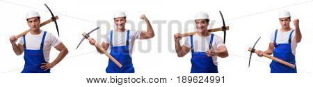 Man with axe isolated on the white