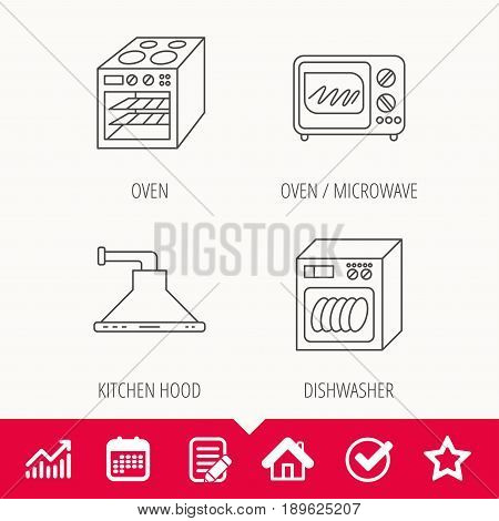 Microwave oven, dishwasher and kitchen hood icons. Oven linear sign. Edit document, Calendar and Graph chart signs. Star, Check and House web icons. Vector