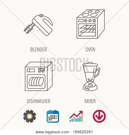 Dishwasher, oven and mixer icons. Blender linear sign. Calendar, Graph chart and Cogwheel signs. Download colored web icon. Vector