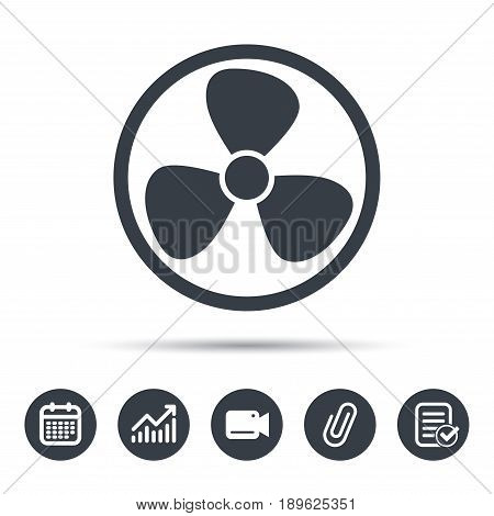 Ventilation icon. Air ventilator or fan symbol. Calendar, chart and checklist signs. Video camera and attach clip web icons. Vector