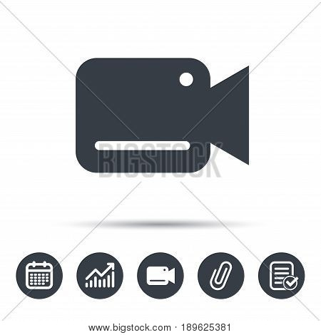Video camera icon. Film recording cam symbol. Security monitoring. Calendar, chart and checklist signs. Video camera and attach clip web icons. Vector