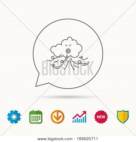 Wind icon. Cloud with storm sign. Strong wind or tempest symbol. Calendar, Graph chart and Cogwheel signs. Download and Shield web icons. Vector