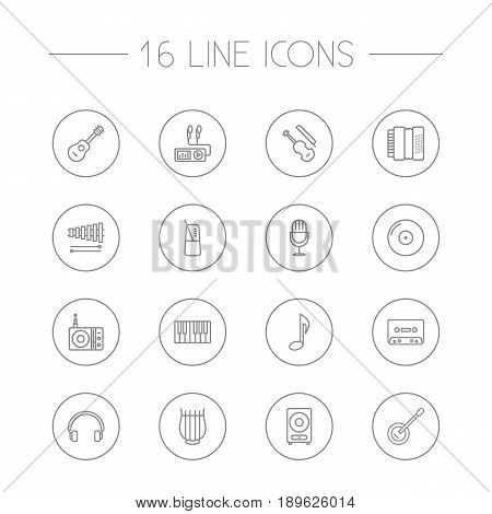 Set Of 16 Melody Outline Icons Set.Collection Of Headphones, Wooden Block, Fiddle And Other Elements.