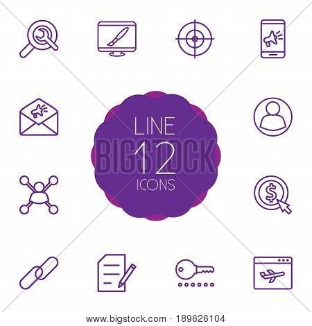Set Of 12 Optimization Outline Icons Set.Collection Of Web Design, Stock Exchange, Choice And Other Elements.