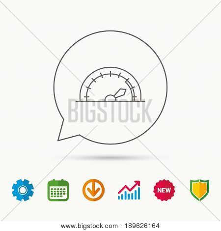 Speedometer icon. Speed tachometer with arrow sign. Calendar, Graph chart and Cogwheel signs. Download and Shield web icons. Vector
