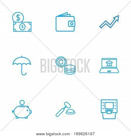 Set Of 9 Budget Outline Icons Set.Collection Of Grow Up, Protect, Auction And Other Elements.