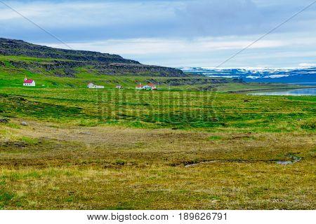 Countryside Near The Vatnsfjordur Fjord