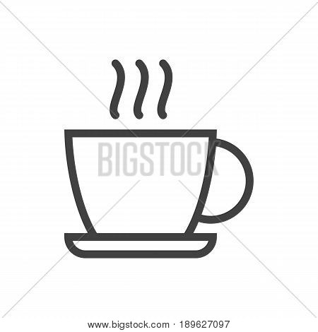 Isolted Cup Outline Symbol On Clean Background. Vector Hot Drink Element In Trendy Style.