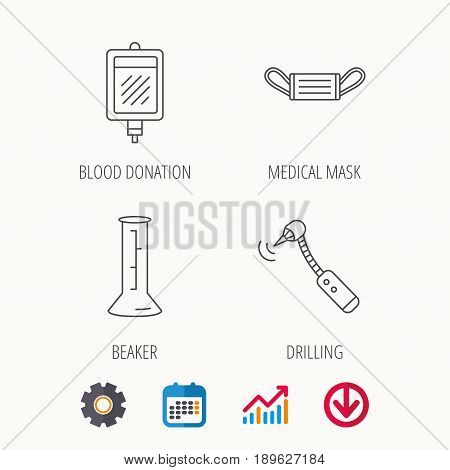 Medical mask, blood and drilling tool icons. Beaker linear sign. Calendar, Graph chart and Cogwheel signs. Download colored web icon. Vector