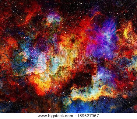 Cosmic space and stars, color cosmic abstract background. Crackle effect. Fire effect