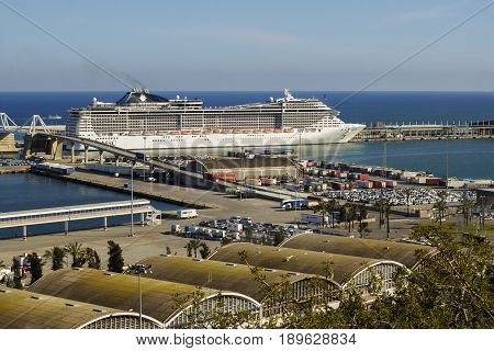 Barcelona Spain - 31 March 2017: Cruise ship named 'MCS Splendida' at the Port of Barcelona.