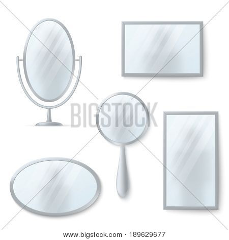Isolated mirrors with reflexion vector set. Mirror shiny round and oval illustration
