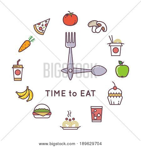 Weight loss diet vector concept with clock and food icons. Food clock concept lifestyle illustration