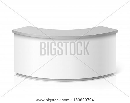 White blank modern reception. Round information desk or exhibition counter vector illustration. Counter for reception and helping service stand