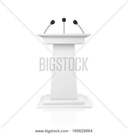 White empty podium tribune for public speech with microphones vector illustration. Pedestal lecture and public stand