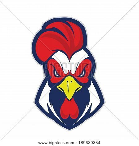 Clipart picture of a chicken rooster head cartoon mascot logo character