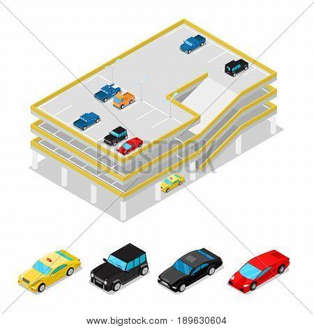 Isometric Car Parking. City Transportation. Multilevel Parking Area. Vector flat 3d illustration
