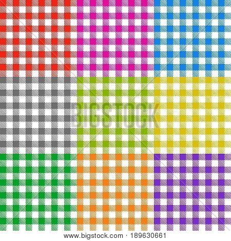 Picnic tablecloth checkered seamless vector patterns set. Colored collection of tablecloth pattern illustration