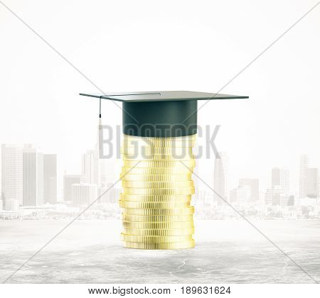 Golden coins with mortarboard on city background. Knowledge concept. 3D Rendering