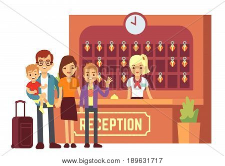 Hotel reservation vector concept with young happy family at reception. People on holiday background. Hotel reception and family on vacation illustration