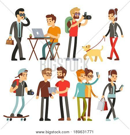 Young woman, man and kid with smartphone and gadgets. Woman and man character with gadget device, vector illustration