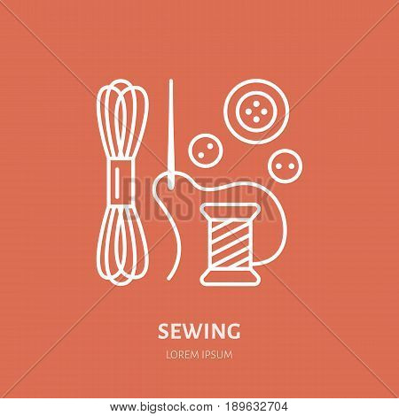 Clothing repair service line logo. Tailor store flat sign, illustration spool of thread, needle and buttons. Hand made linear icon.