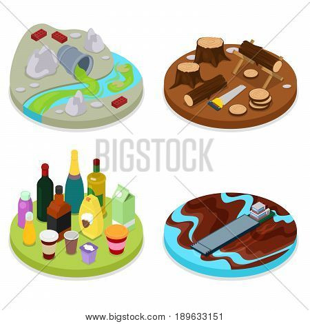 Isometric Environmental Pollution Set. Chemical Waste. Dirty Water. Deforestation. Vector flat 3d illustration
