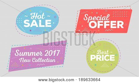Set of Trendy Sale Geometric Bubbles Flat Shape Vintage Style. Hot Sale Tag Special Offer Label Best Price Badge Summer 2017 and New Collection. Bright Retro Background with Memphis Style Pattern.