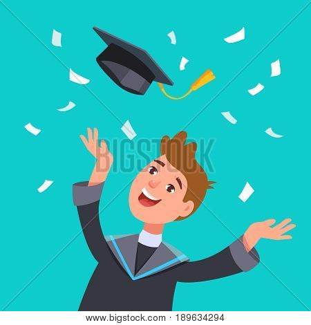 Happy smiling graduates man student in graduation gowns throwing mortarboards in air. Vector illustration concept graduation ceremony flat style