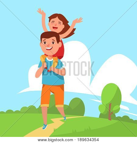Happy family father and daughter walking in the park outdoors together outside the city. Smiling dad runs and carries small child on shoulders. Vector illustration family leisure activity flat style