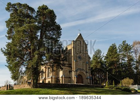 Astravyets Belarus - May 03 2017: Church of the Ascension of the Holy Cross dated 1911.