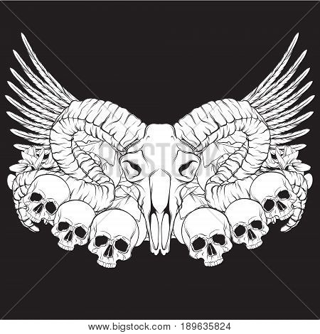 Vector hand drawn illustration. Artwork with skull of ram flowers wings. Alchemy religion spirituality occultism tattoo art. Template for postcard banner poster print for t-shirt.