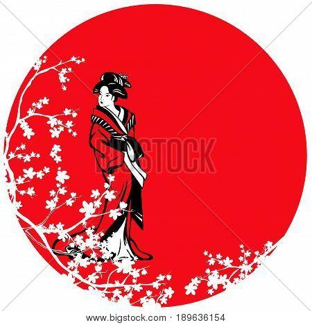 beautiful japanese geisha among sakura blossom against red sun vector design