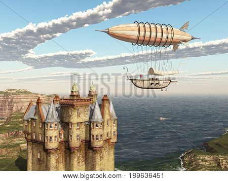 Computer generated 3D illustration with fantasy airship and Scottish castle