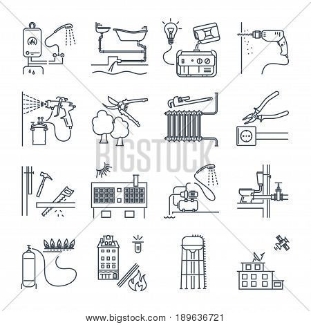 set of thin line icons public utility electricity gas water heating sewer system