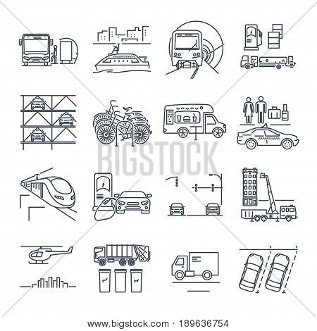 set of thin line icons municipal city transport public utility